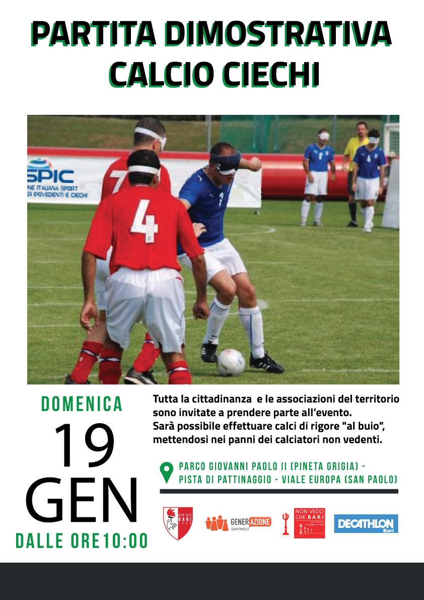 Partita Esibizione Calcio Ciechi al San Paolo di Bari
